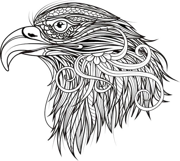 Tête à motifs d'aigle art zentangle noir et blanc