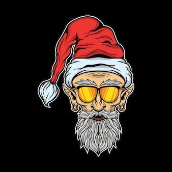 Tête de nain santa portant des lunettes de soleil illustration