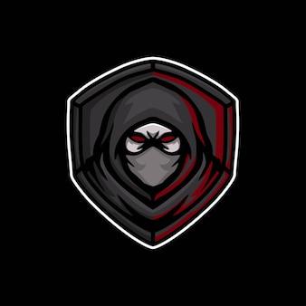 Tête de ninja avec création de logo de mascotte de bouclier
