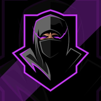 Tête de ninja mascotte logo esport design