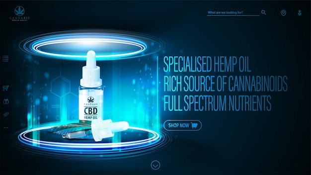 En-tête numérique foncé et bleu avec bouteille d'huile cbd avec pipette. affiche avec scène néon sombre avec podium néon et hologramme d'huile de cbd à l'intérieur