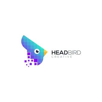 Tête d'oiseau technologie géométrique moderne coloré