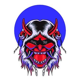 Tête d'onimask japonais rock n roll devil vector tshirt design premium