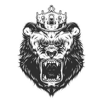 Tête d'ours de couronne vintage dans un style monochrome