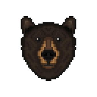 Tête d'ours dans un style pixel art
