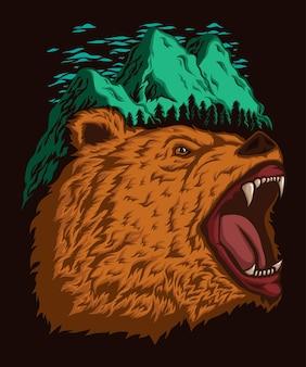 Tête d'ours grizzli avec montagnes et ciel au sommet