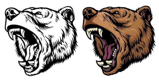 Tête d'ours grizzli rugissant en colère
