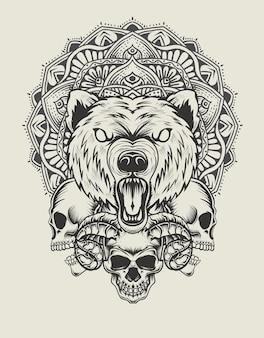 Tête d'ours d'illustration avec le style monochrome de crâne et de mandala