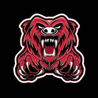 Tête d'ours isolée sur fond noir