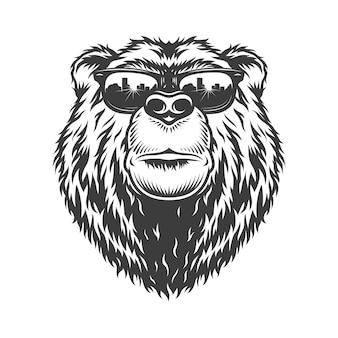 Tête d'ours sérieux à la mode monochrome vintage