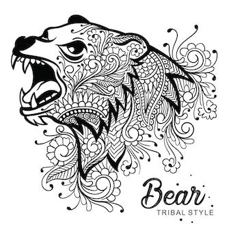 Tête d'ours style tribal dessiné à la main
