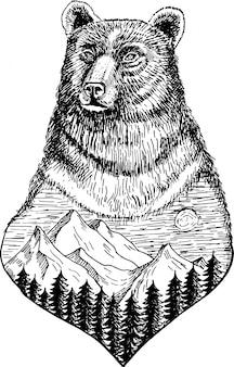 Tête d'ours stylisée avec dessinés à la main encre nature paysages