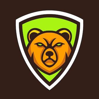 Tête d'ours avec vecteur de conception de logo de bouclier