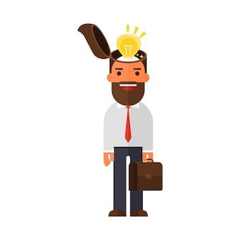 Tête ouverte d'homme d'affaires ont une idée