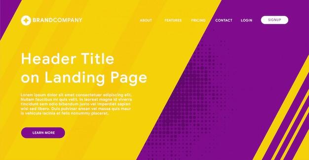 En-tête de page de destination avec fond violet et jaune