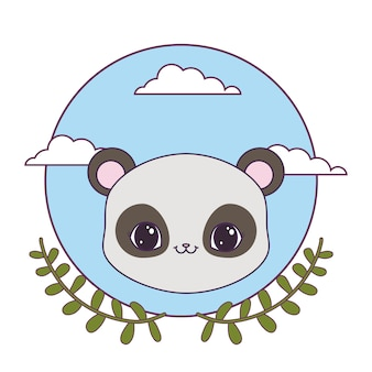 Tête de panda dans un cadre circulaire avec une couronne de feuilles