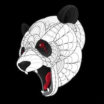 Tête de panda stylisée zentangle