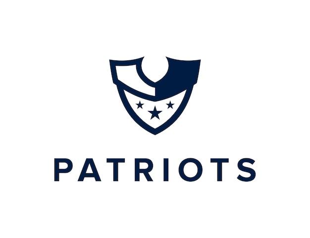 Tête de patriote avec des étoiles et un bouclier simple création de logo géométrique moderne et élégant