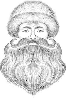 Tête de père noël avec illustration de croquis de barbe