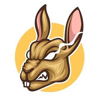Tête de personnage de mascotte en colère de lapin
