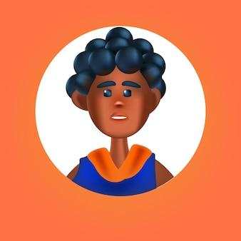 Tête de personne de sexe masculin dans un cadre rond homme mignon avatar personnage de dessin animé portrait illustration vectorielle