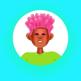 Tête de personne de sexe masculin dans un cadre rond mignon hipster homme avatar personnage de dessin animé portrait illustration vectorielle