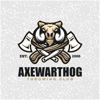 Tête de phacochère avec haches et couteaux, logo du club de lancer.