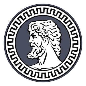 Tête de philosophe de la grèce antique. illustration pour emblème, logo, icône de style vintage