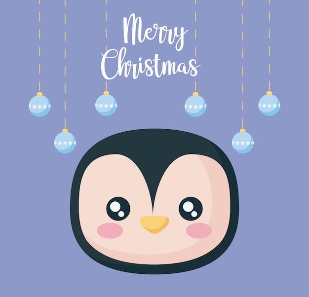 Tête de pingouin avec des boules de noël
