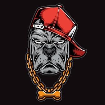Tête de pitbull gangster