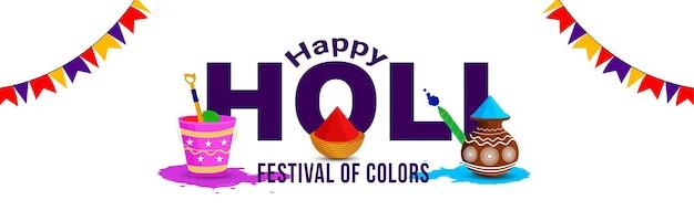 En-tête plat happy holi avec de la boue de couleur