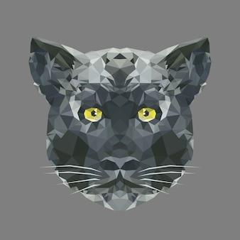 Tête polygonale de la panthère noire