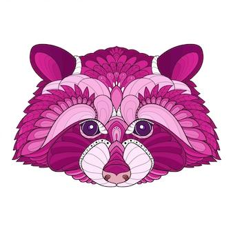 Tête de raton laveur stylisée enchevêtrement zen