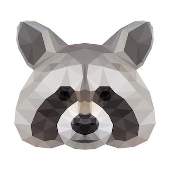 Tête de raton laveur. tête abstraite polygonale de raton laveur. animal raton laveur.