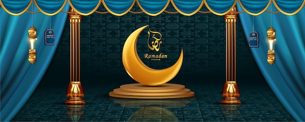 En-tête réaliste de luxe ramadan kareem