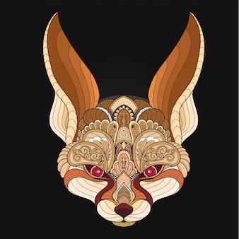 Tête de renard fennec stylisée zentangle