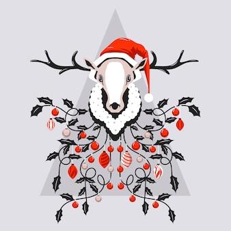 Tête de renne heureux avec bonnet de noel et lumières de noël sur écharpe