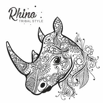 Tête de rhinocéros style tribal dessiné à la main