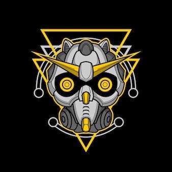 Tête De Robot 006 à Géométrie Sacrée Vecteur Premium