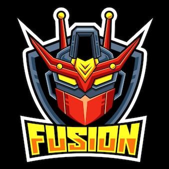 Tête robot fusion esport logo équipe
