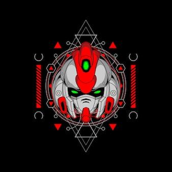 Tête de robot rouge avec une géométrie sacrée