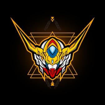 Tête robotique esports logo vector design