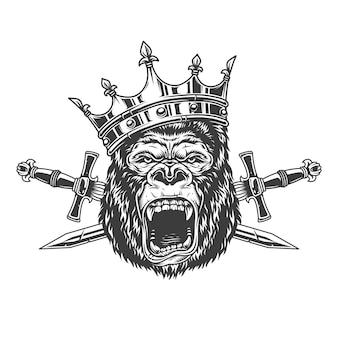 Tête de roi gorille féroce en couronne