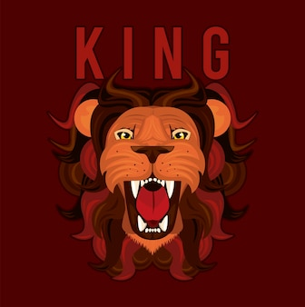Tête de roi lion dans la conception d'illustration icône colorée rouge