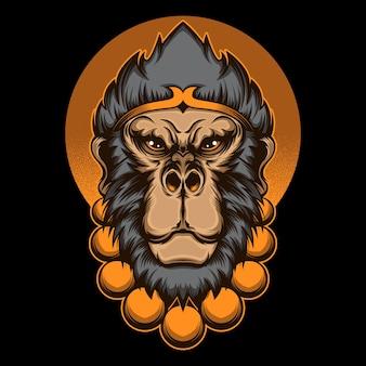 Tête de roi singe