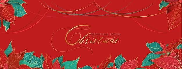 En-tête de salutation rouge de poinsettia de noël dans un style décoratif élégant. feuilles rouges et vertes avec une ligne dorée sur fond rouge. décor de réseaux sociaux de vacances de noël