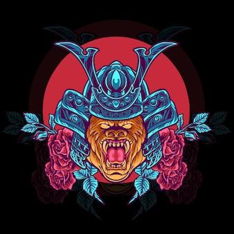 Tête de samouraï gorille avec illustration de roses