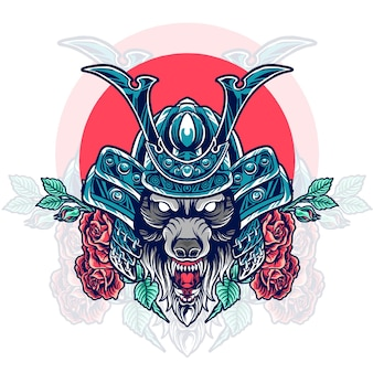 Tête de samouraï de loup avec des roses