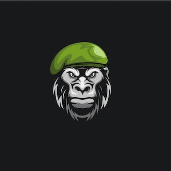 Tête singe armée logo ilustration
