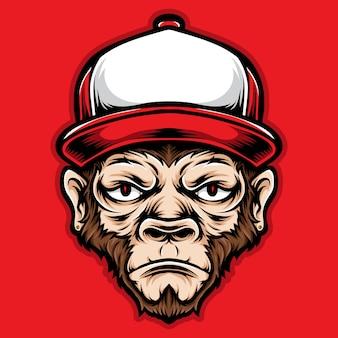 Tête de singe avec des bouchons rouges